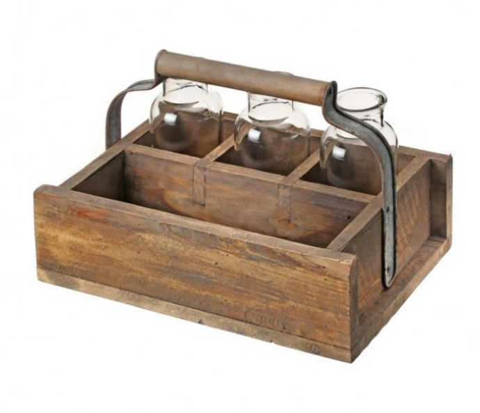 Wood Tray w. Handle & 3 Glass Bottles