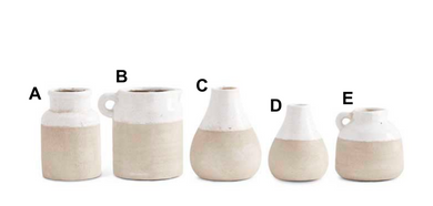 Ceramic Pots With Light Cream Glaze on Top - 5 Styles