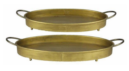 Oval Antiqued Gold Gunmetal Tray - 2 Sizes