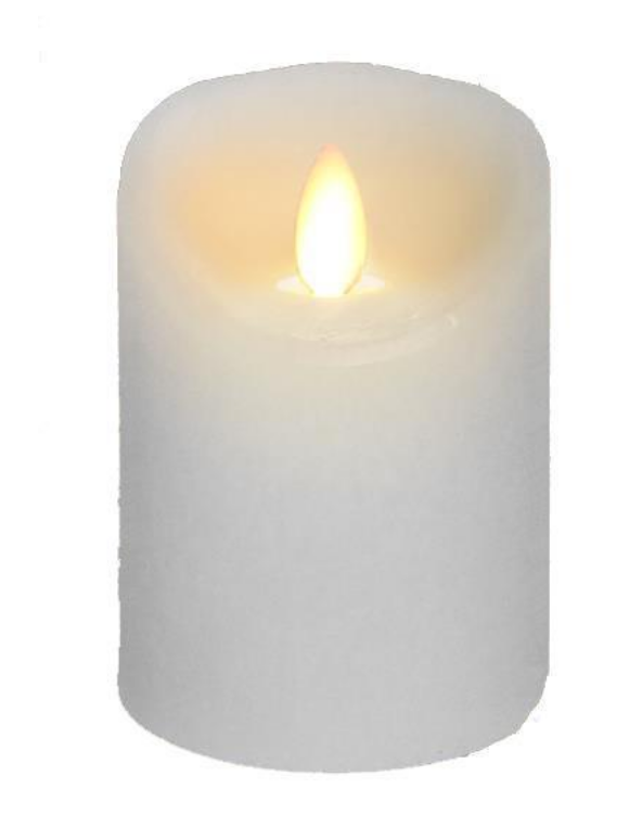 3x4 Wax Flickering Ivory Candle - Battery Operated