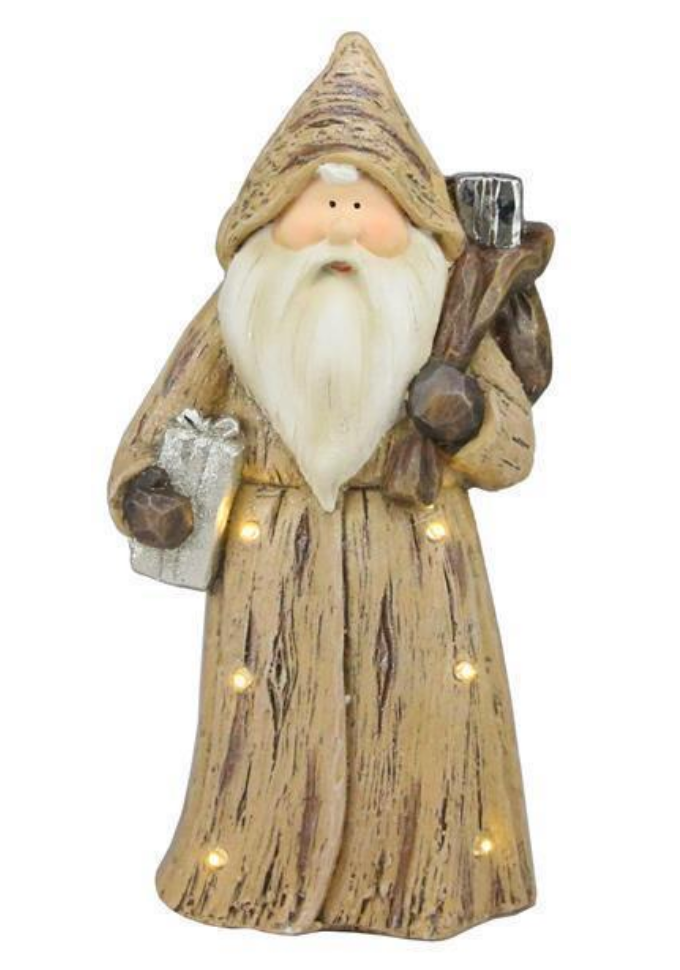 Woodland Santa w. Present - LED Lights