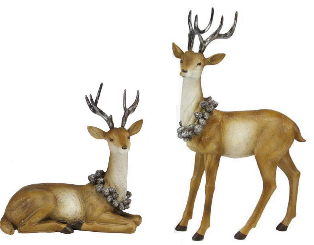 Deer w. Silver Pincones - Set of 2