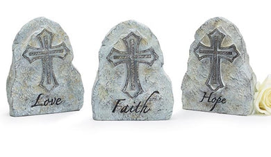 ROCK WITH ENGRAVED CROSSES AND MESSAGES