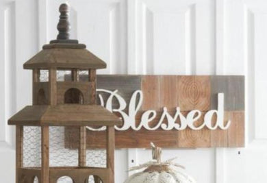 BLESSED on Rustic Stained Wood Sign