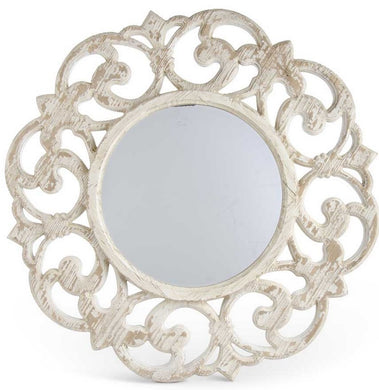 Wooden Whitewash Scroll Mirror