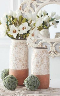 Cream Ceramic Vases w/Tan Floral Pattern (Grad Sizes) -2 Sizes