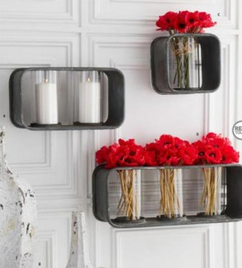 Wall Hanging Candle holders w/Glass Cylinder - 3 Sizes