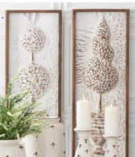 Pressed Tin Whitewashed Topiary Wall Art - 2 Styles