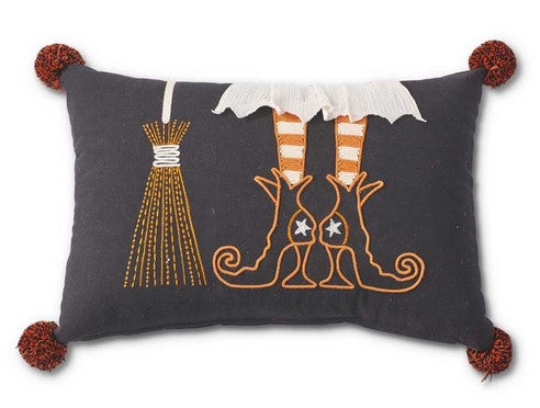 Witch Boot Broom Pillow