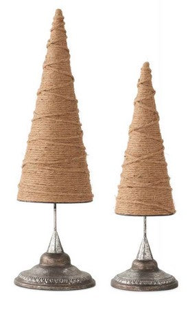 Cone Christmas Trees Wrapped In Jute  - SET OF 2