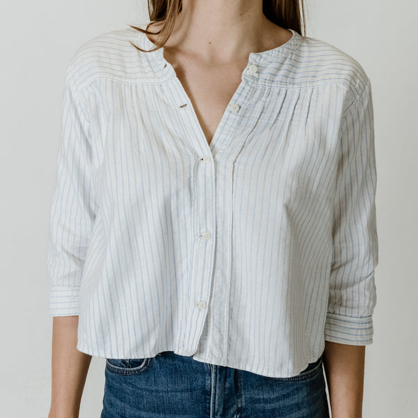 30s White + Blue Striped Top
