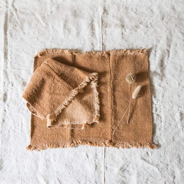 Rust Mudcloth Napkins, Set of 4