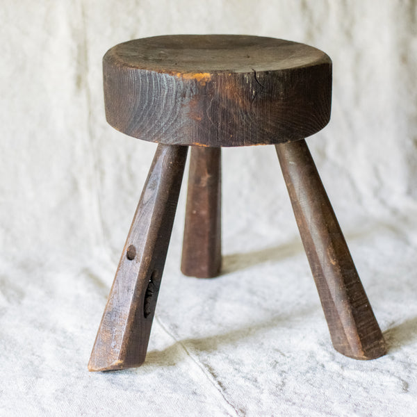 Dark Brown Primitive Milking Stool