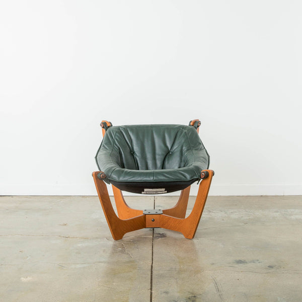 Teak Luna Chairs in Green Aniline Leather