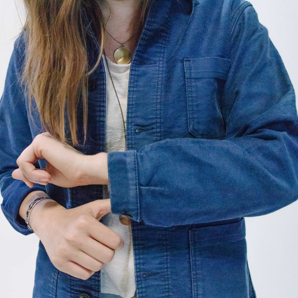 1960's Faded Blue Classic Work Jacket, Medium