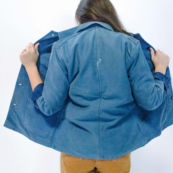 1960's Faded Blue Moleskin Jacket with Paint Splatter, Small