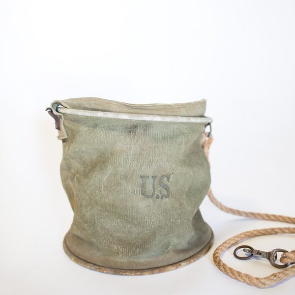 Military Issue Canvas Bucket Bag with Rope