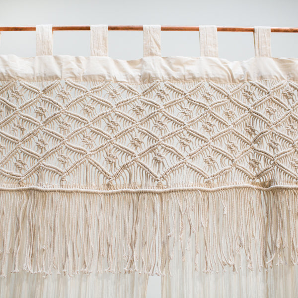 Macrame + Cheesecloth Curtains