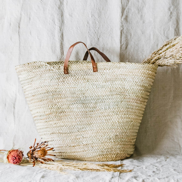 Hand Woven Basket with Leather Handle