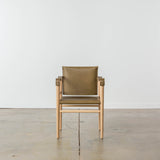 Temps Libre Olive Leather Safari Chair