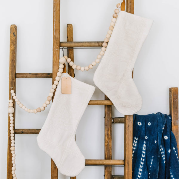 Hand Sewn Matelassé Holiday Stockings