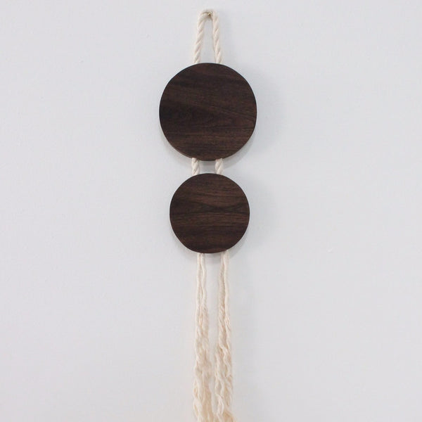 Walnut and Rope Circle Hanging