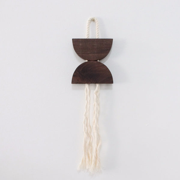 Walnut and Rope Small Dune Hanging
