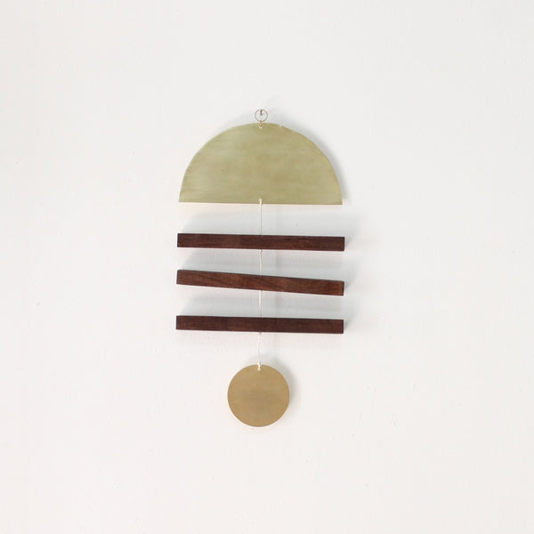Walnut + Brass Vane Wall Hanging