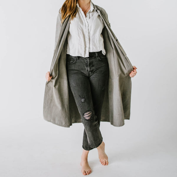 1930's Grey Patched Chambray Atelier Coat with Round Collar