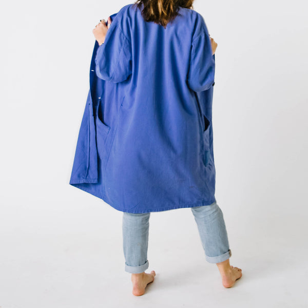 1960's Faded & Patched Bugatti Blue Chore Coat