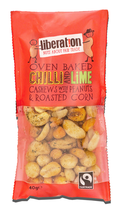 Liberation Fair Trade Chilli & Lime Cashews, Peanuts & Corn (90g)