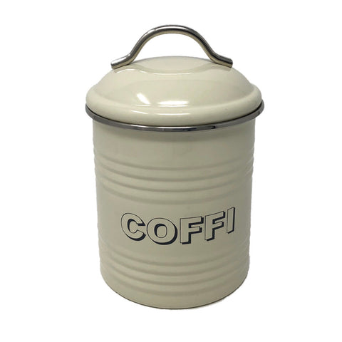 'Coffi' Welsh Kitchen Coffee Canister - Cream