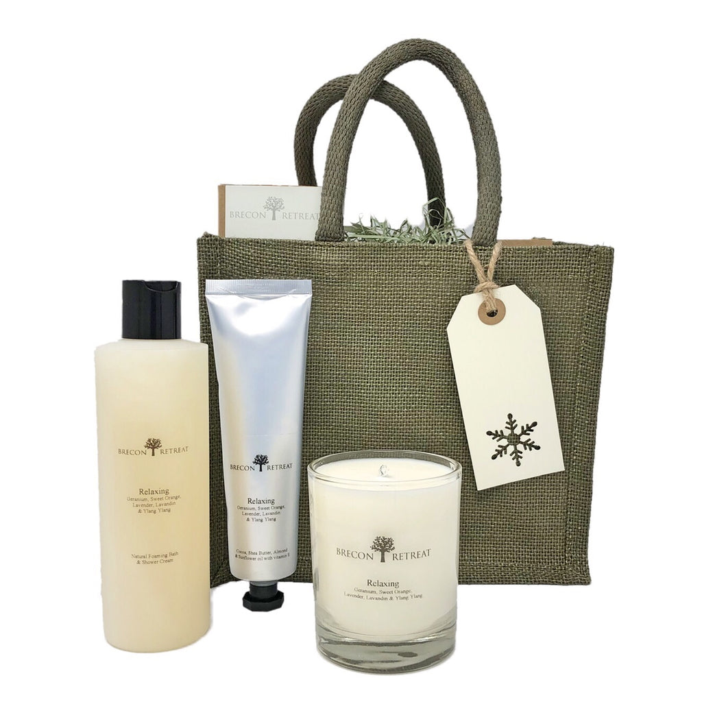 Gift Bag - 'Relaxing' Candle + Bubbles + Lotion