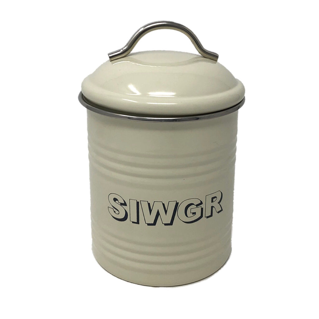 'Siwgr' Welsh Kitchen Sugar Canister - Cream