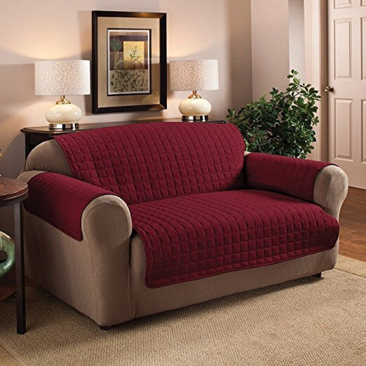 Luxury Quilted Sofa Protector - Plum / Burgundy