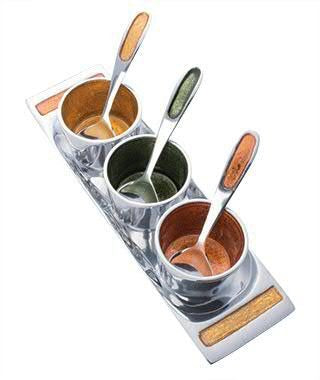 Recycled Aluminium Condiments & Pickle Tray with Spoons