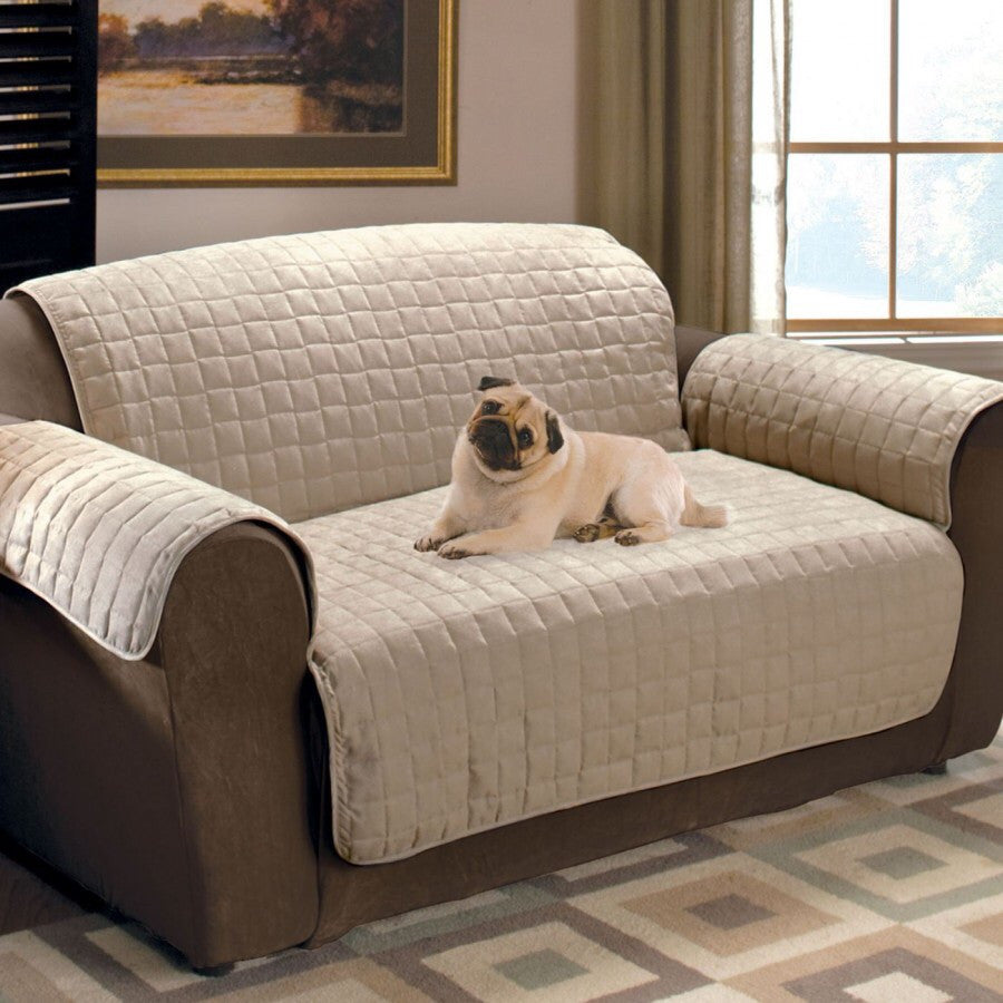 Luxury Quilted Sofa Protector - Beige