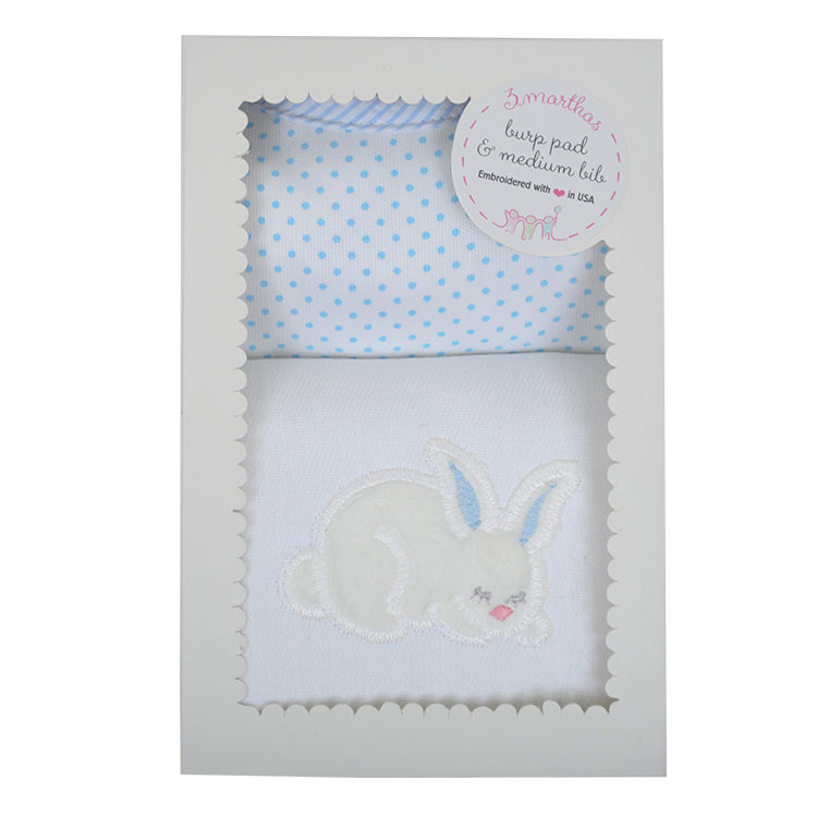 Blue Bunny Bib and Burp Set