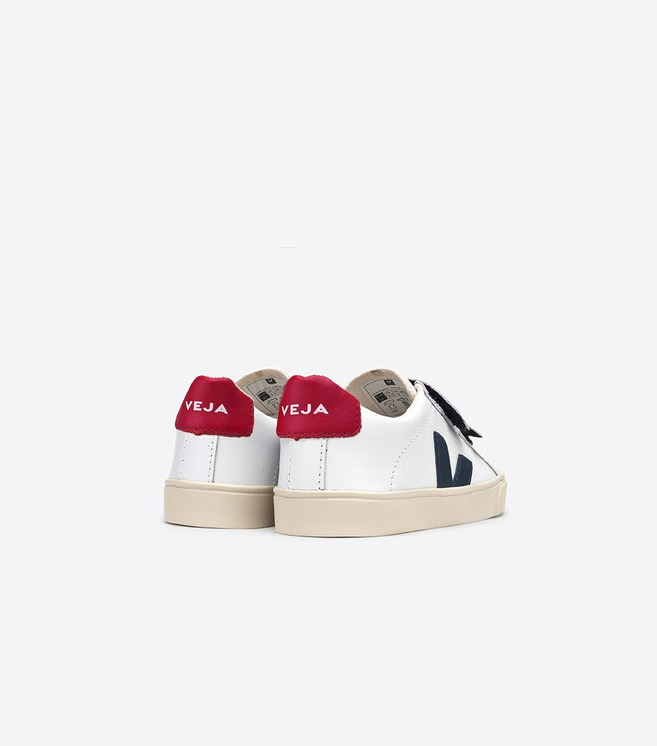 Esplar Velcro Sneaker in White Leather