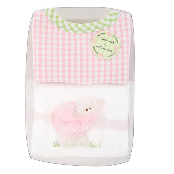 Pink Lamb Bib and Burp Set