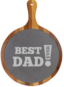 "14 1/2"" x 10 1/2"" Round Acacia Wood/Slate Serving Board with Handle - Best Dad Ever"