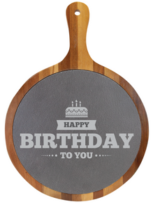 "14 1/2"" x 10 1/2"" Round Acacia Wood/Slate Serving Board with Handle - Birthday Gift"