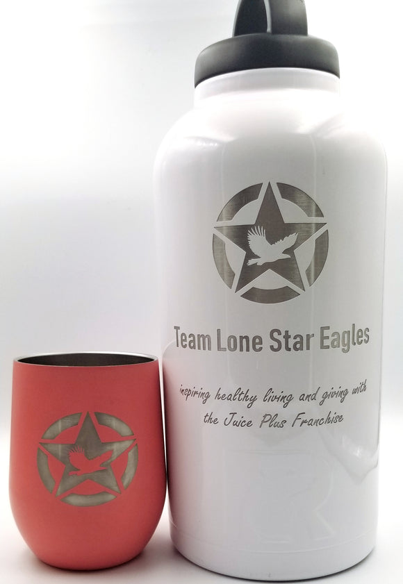 Exclusive Team Lone Star Eagle Juice Plus RTIC 64 oz Tumbler, Stainless Steel Bottle, Screw Lid and Sport Lid Included