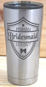 20oz. Stainless Steel Insulated Tumbler w/Clear Lid, Bridesmaid Gift, Wedding Party Favor