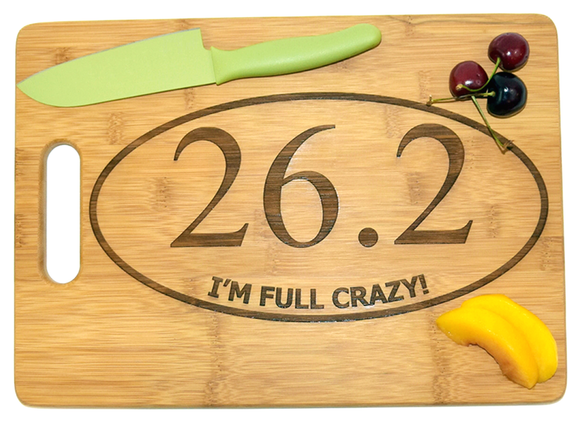 Personalized Engraved Bamboo Cutting Board, 26.2 Marathon, Gift for Runner