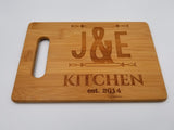 Large Personalized Engraved Bamboo Cutting Board for Wedding, Anniversary