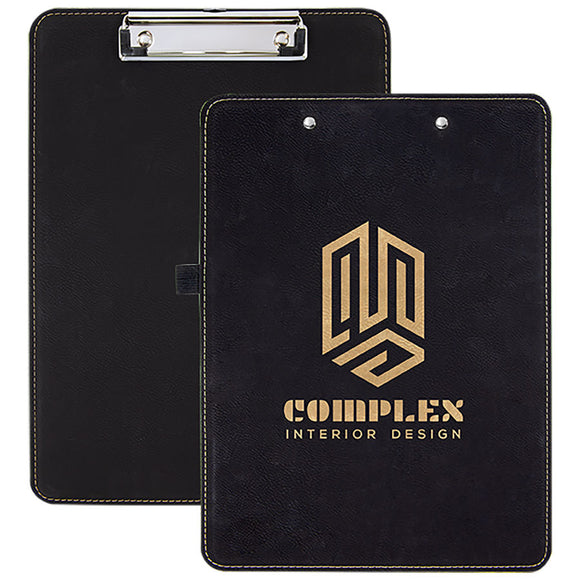 Black Gold Leatherette Clipboard - Front or Back - offers the look and feel of genuine leather at a fraction of the price. This richly textured, synthetic material is water resistant, easy to clean and durable enough for the rigors of daily use.