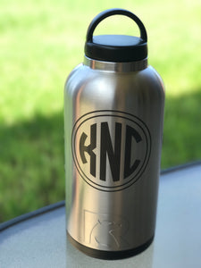 RTIC 64 oz Tumbler, Stainless Steel Bottle, Personalized, Screw Lid and Sport Lid Included