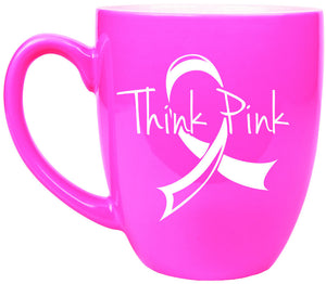 Think Pink Breast Cancer Awareness 16 oz Mug