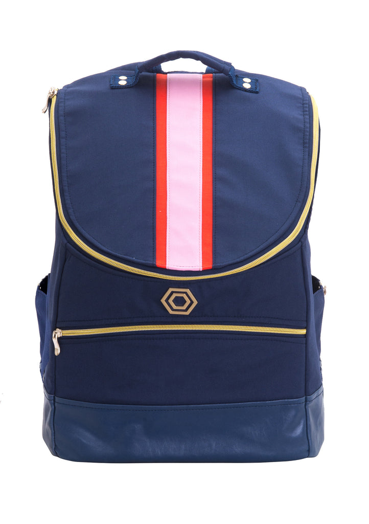 Navy with Pink and Orange